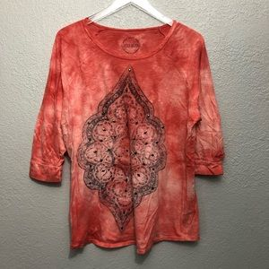 Lucky Brand 100% Cotton Knit 3/4 Sleeve Graphic T